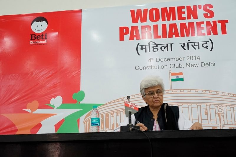 oted feminist- activist, Kamla Bhasin presided as the 'Speaker' at the Women's Parliament. (Credit: Taru Bahl\WFS)