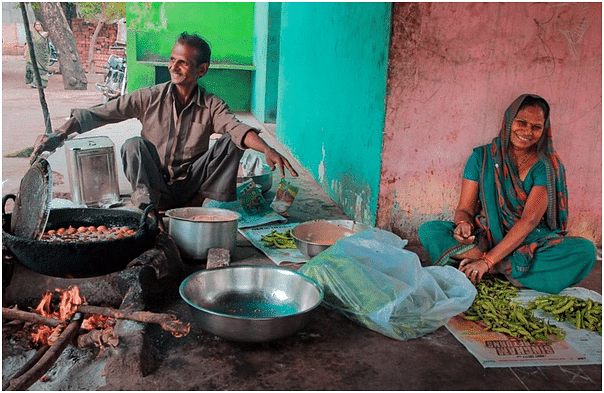 Anita and her husband run a vegetable stall and fast-food joint at the market in Alirajpur.