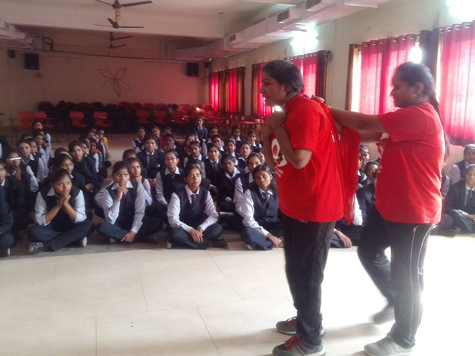 The Red Brigade team gives training in various schools.