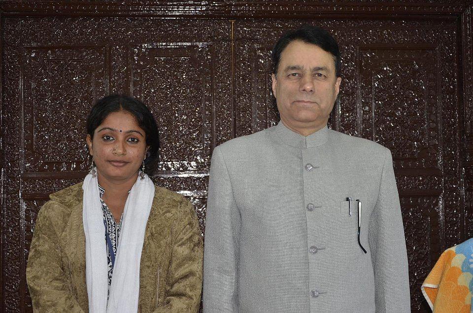 Usha Vishwakarma with Aamir Ali, joint commissioner, Kasmir.