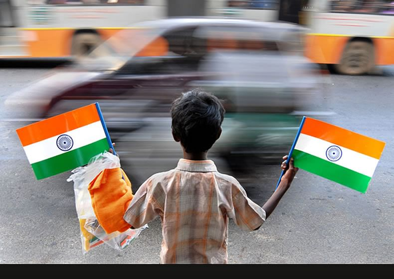 Image result for Indian kids with national flag