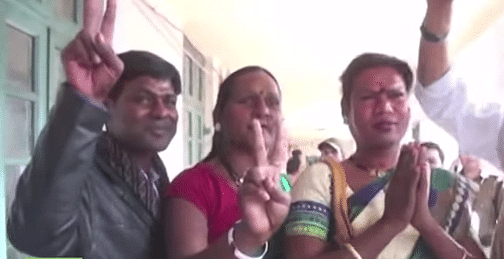 Madhu Kinnar (extreme right) with her supporters.