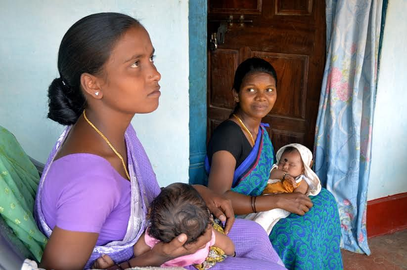 Betukuri Lingamma and Poya Devi (right) in Urumulu village of Araku block in Visakhapatnam. Poya was registered at the anganwadi as soon as she got pregnant and was later sent to a hospital for institutional delivery. (Credit: Dilnaz Boga\WFS)