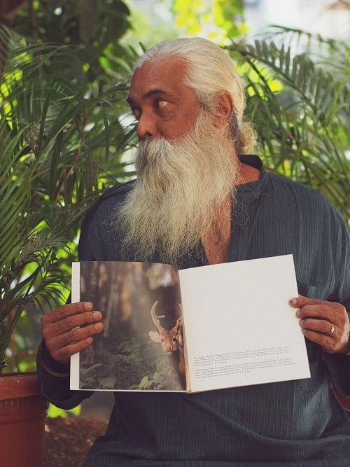 Gangadharan Menon with his book 'Evergreen Leaves'