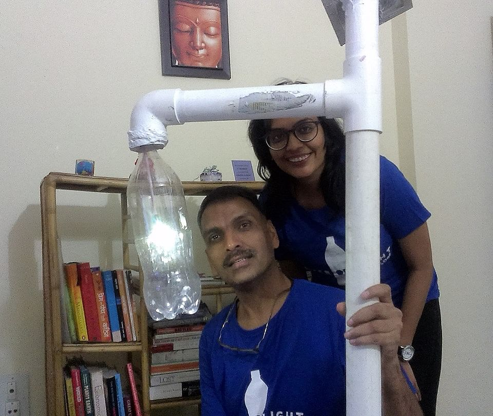Pankaj and Tripti, co-founders, Liter of Light Bangalore chapter.