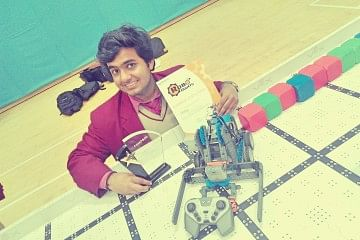 Akshay with his robot