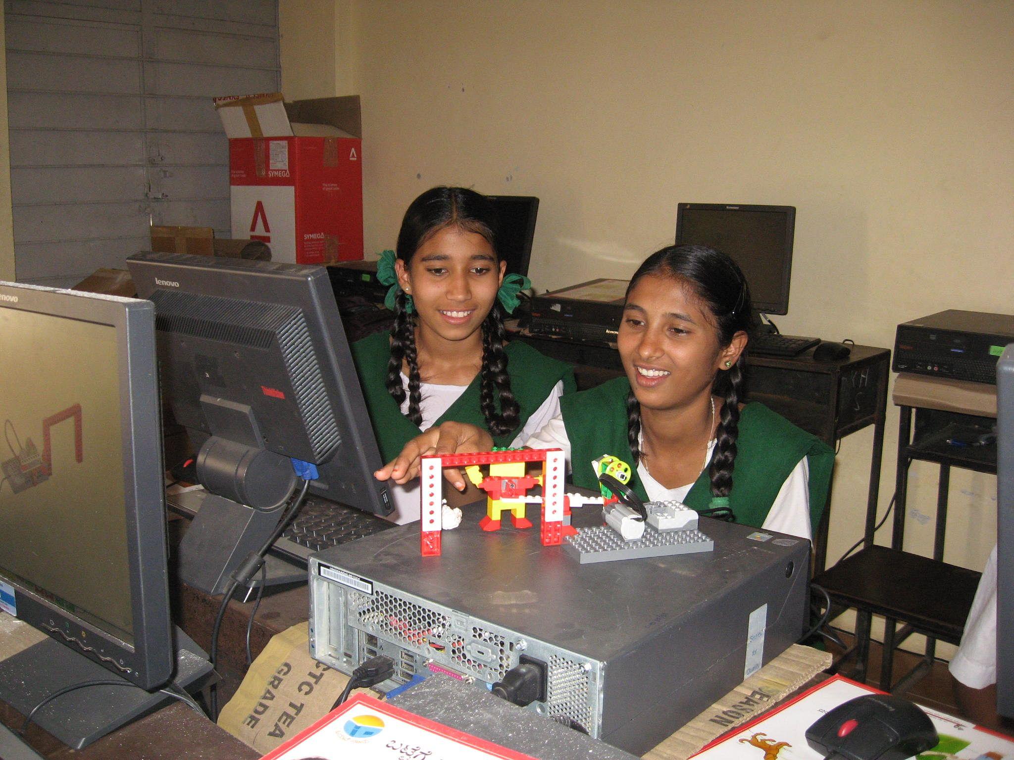Girls at robotics lab.