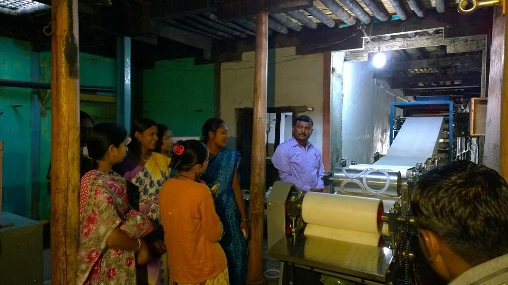 Inaugurating the papad making machine unit in Bahadarpur, Maharashtra