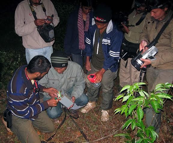 Kulkarni and team installing camera traps in the Mhadei Bio Region.