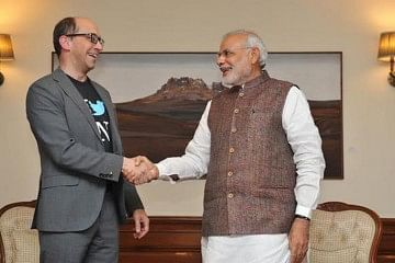 Twitter CEO Dick Costolo (left) with PM Narendra Modi