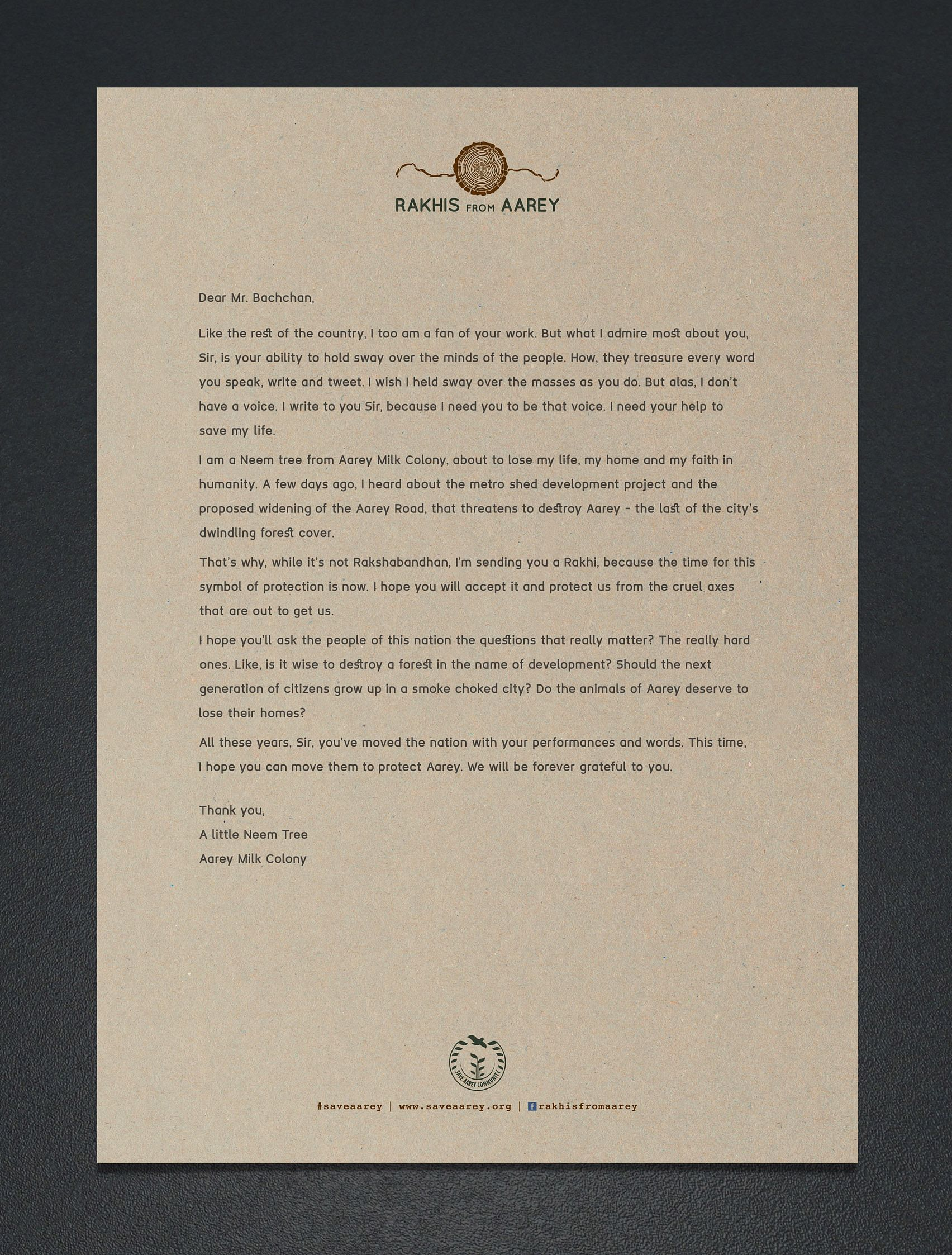 Letter to Amitabh Bachhan