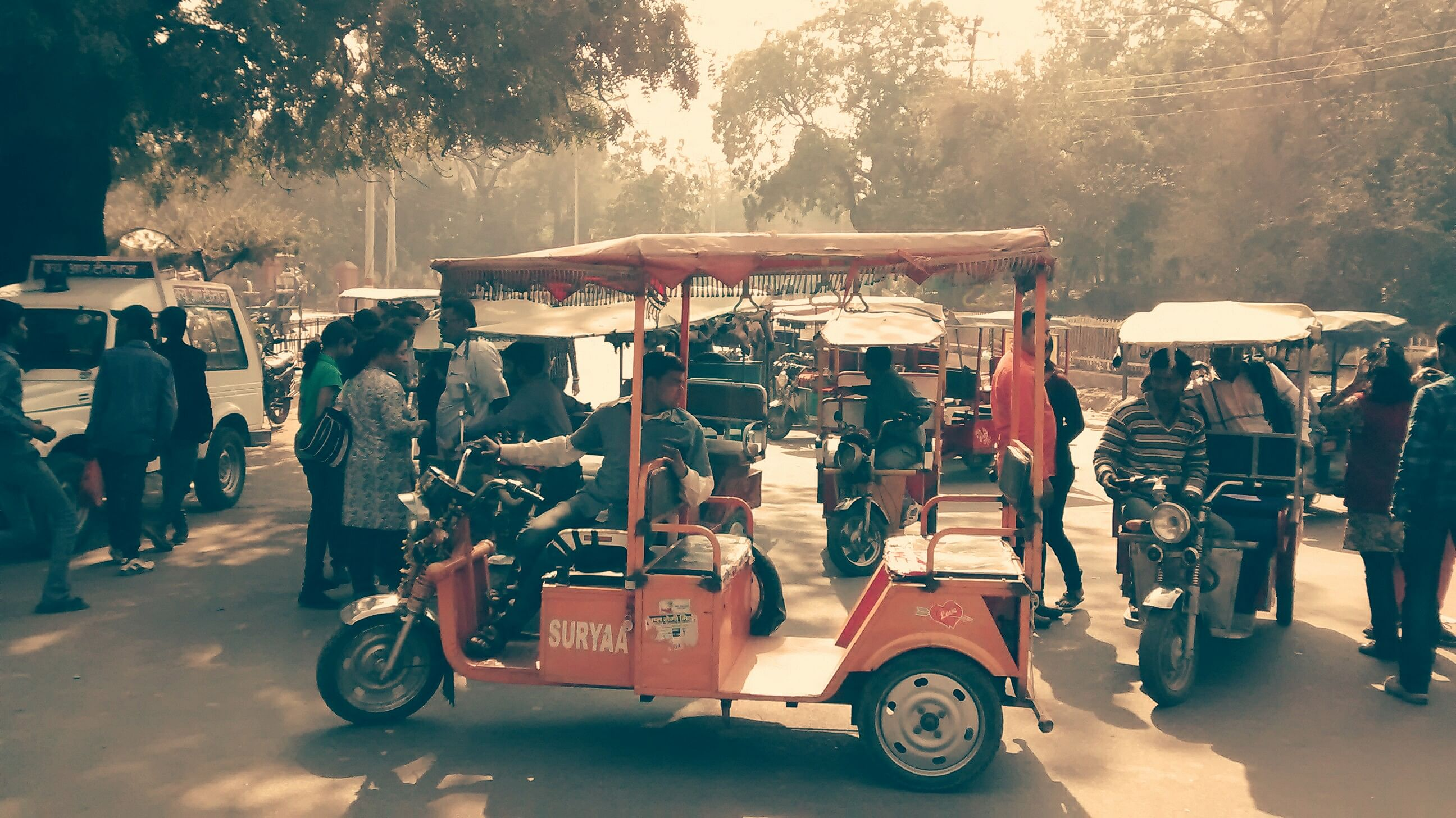 The incredible rickshaws cost as much as a regular rickshaw.