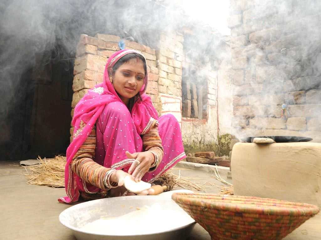 Priyanka busy completing her household chores.