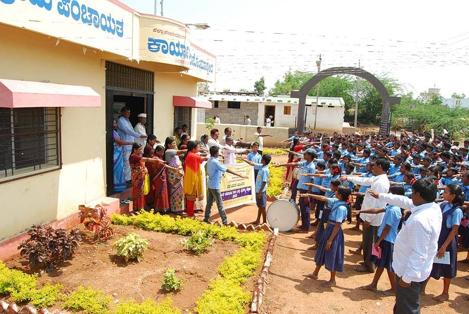 Entire school & staff taking Cleanliness pledge before taking a procession in Adavi Somapur
