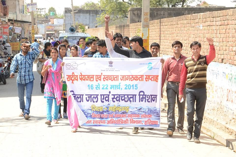 IEC Students shouting slogans of Swachhata in a rally in Nangal Chaudhary (Mahendragarh Dist., Haryana)