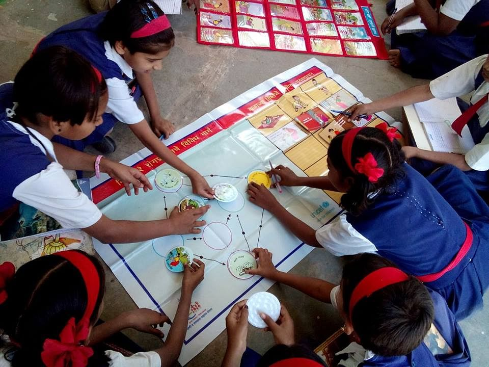 SBM Pune used Playful(Innovative) charts in schools such that Kids understand how various aspects of cleanliness are inter-linked.