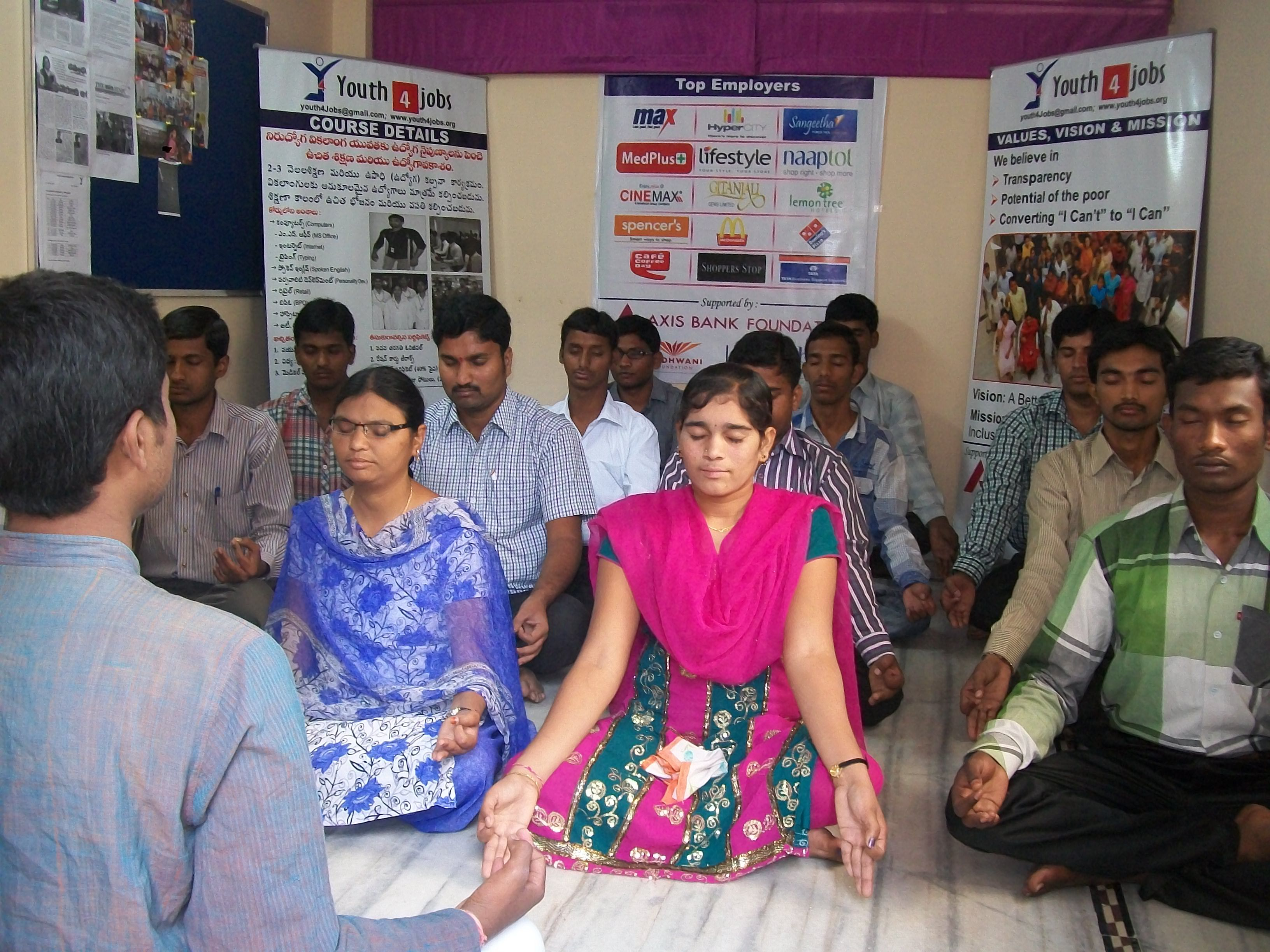 Trainees doing Yoga at our training center - which is an integral part of our course curriculum.