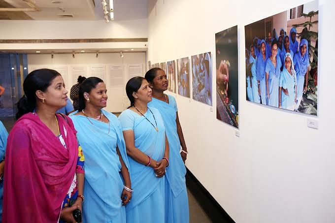 One of the six groups of women that the exhibition features is the 'untouchable' community from Alwar and Tonk in Rajasthan, who have found their way out of manual scavenging with the help of an NGO.