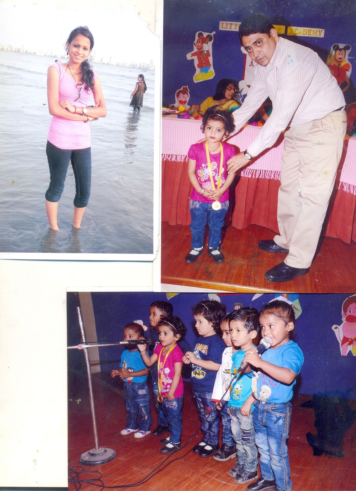 "Top left: Raju's daughter teaches Risha so she can catch up in studies. Top Right"" Risha receiving a prize at school. Bottom: Risha at a school function"