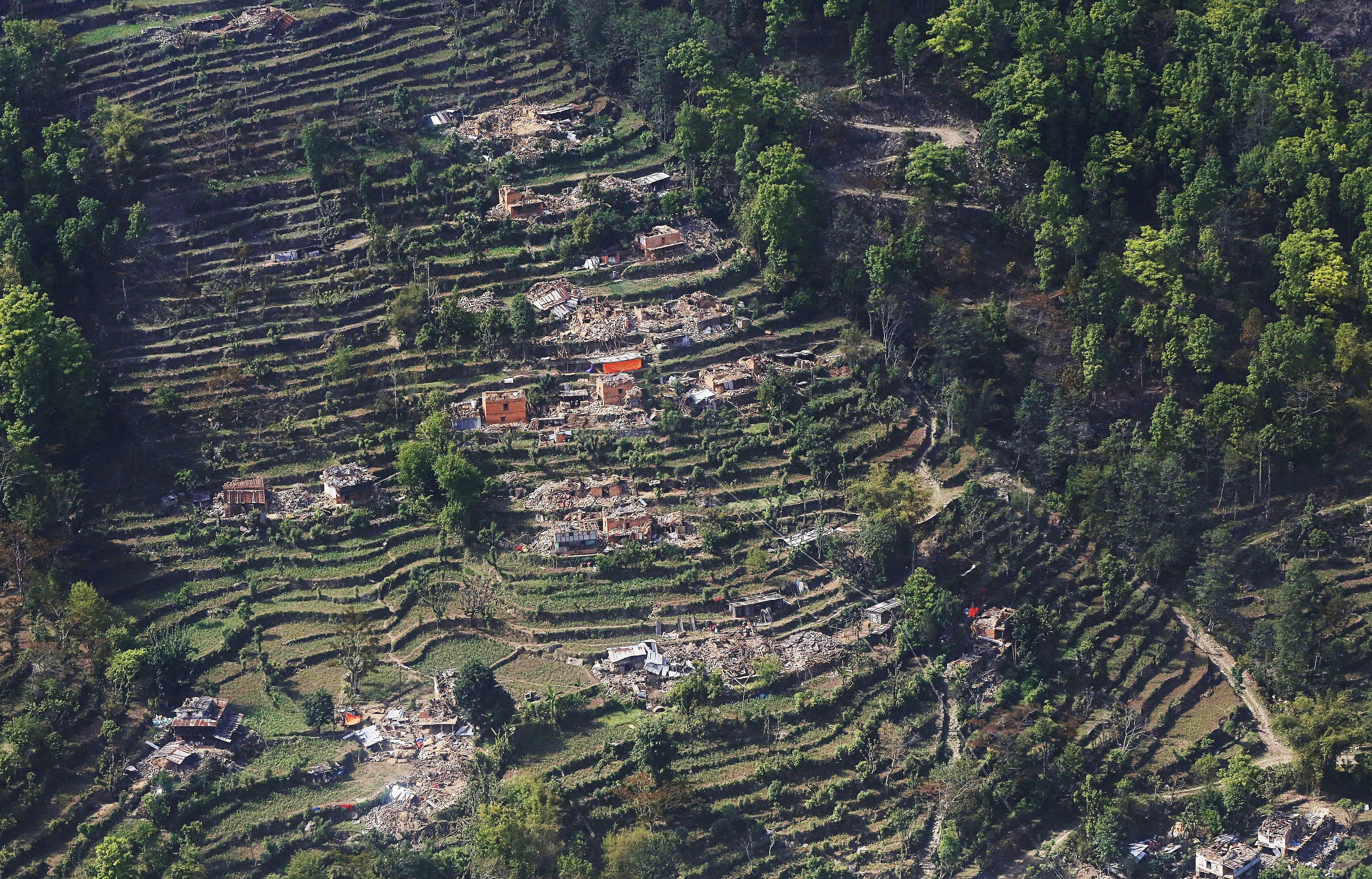Aerial View of Earthquake hit Chautara Village in Nepal