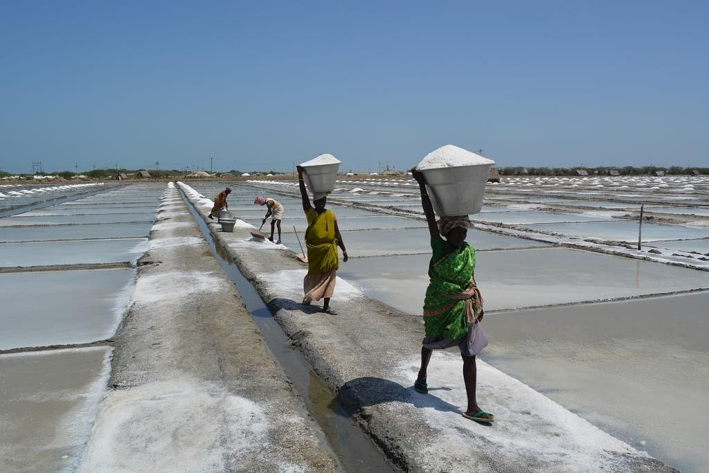 Long working hours under hot sun make the working condition very difficult for the workers.