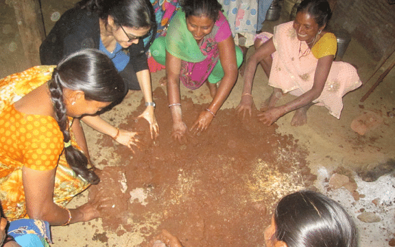 The chulha is made from mud and locally sourced material.