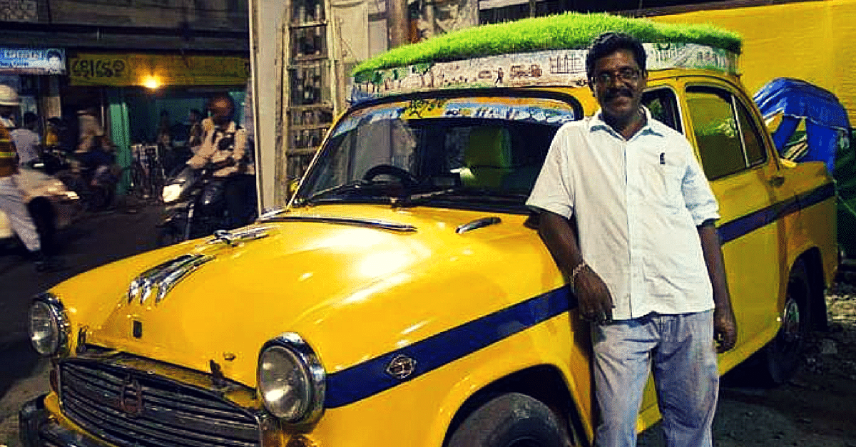 A Cab Driver in Kolkata decided to create a rooftop garden on his Ambassador Taxi