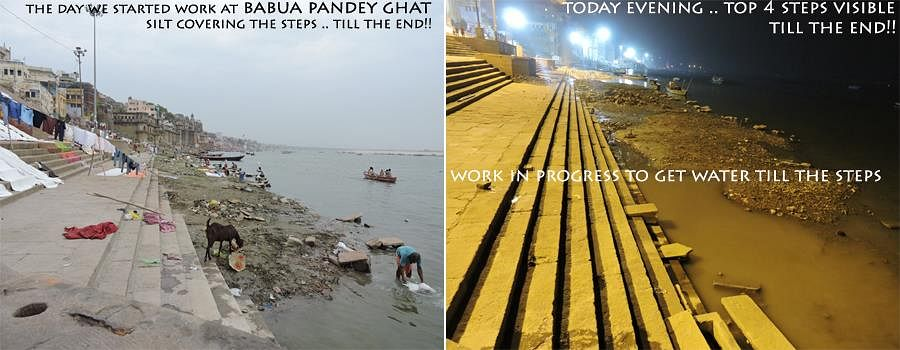 Before and after of the ghat
