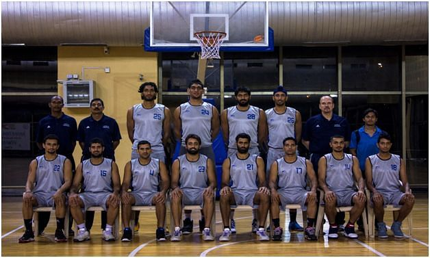 Indian Basketball Team for FIBA ASIA 2013 Satnam Singh Bhamara - Standing fourth from left