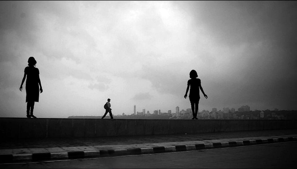 Mumbai skyline - projected image