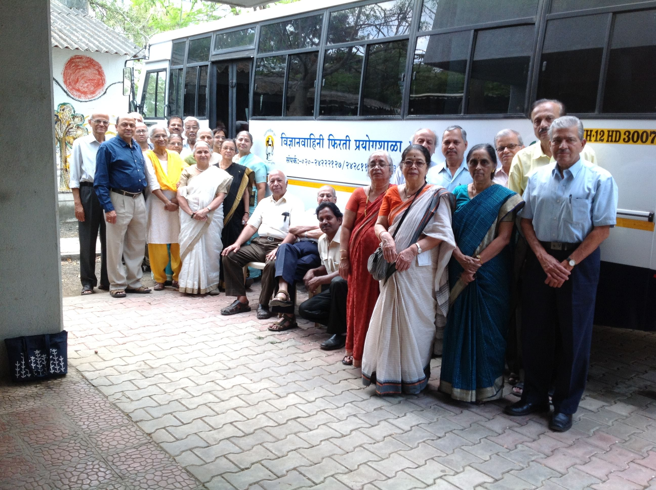 The Vidnyan Vahini team with the 'Mobile Science laboratory'