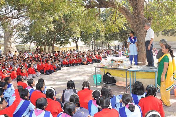 Mr. Sharad Godse conducting a workshop in a school in Nagaland