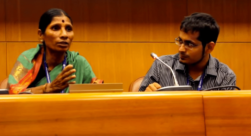 Suman More & Harshad Barde of Kagad Kach Patra Kashtakari Panchayat at the conference in Geneva.