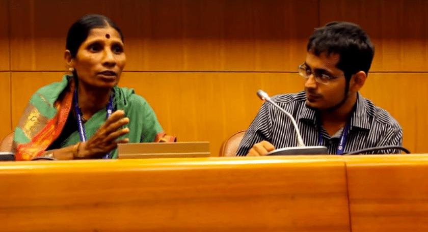 Suman More & Harshad Barde of Kagad Kach Patra Kashtakari Panchayat at the conference in Geneva.
