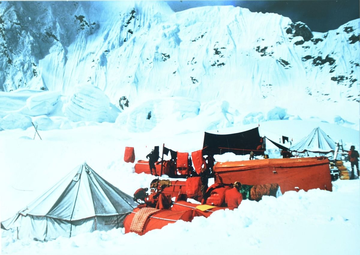 The 1965 base camp at 17,800 feet.