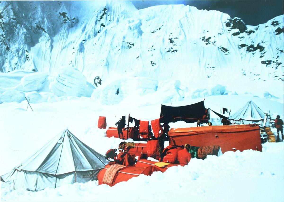 The 1965 base camp at 17,800 feet.