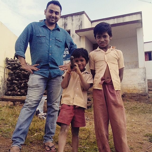 Anirudh has been spreading awareness about good hygiene int he village.