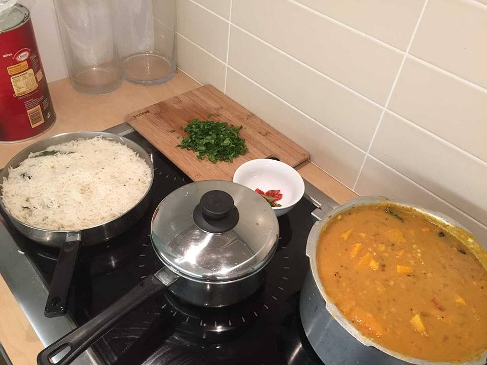 A typical $5 rice and curry lunch