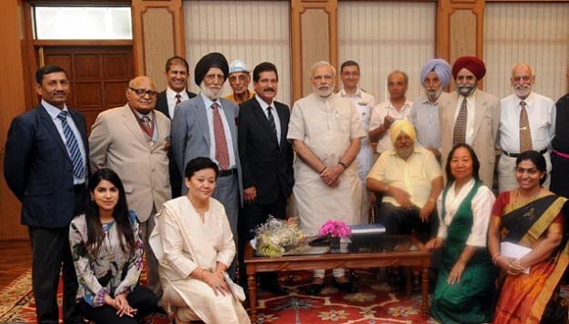 Surviving Members and the next of kin of the 1965 Indian Everest Expedition with the Prime Minister of India Shri Narendra Modi.