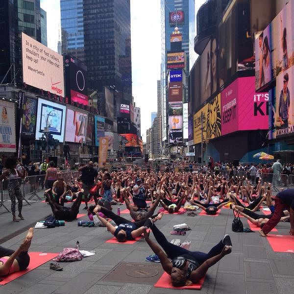 Yoga at Times Square