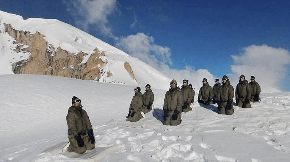 ARMY PERSONNEL AT A YOGA SESSION ON INTERNATIONAL YOGA DAY AT SIACHEN GLACIER ON SUNDAY.