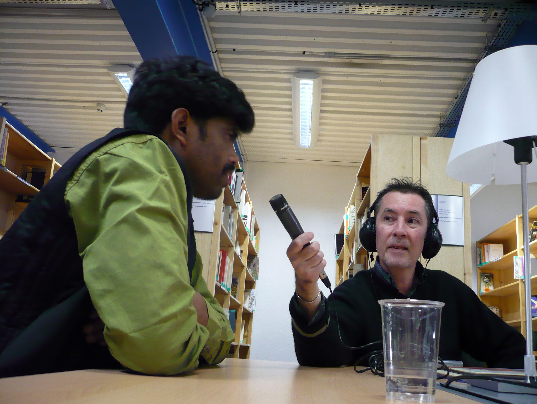 Bhajju at the BBC studio for the BBC Your Story radio program.