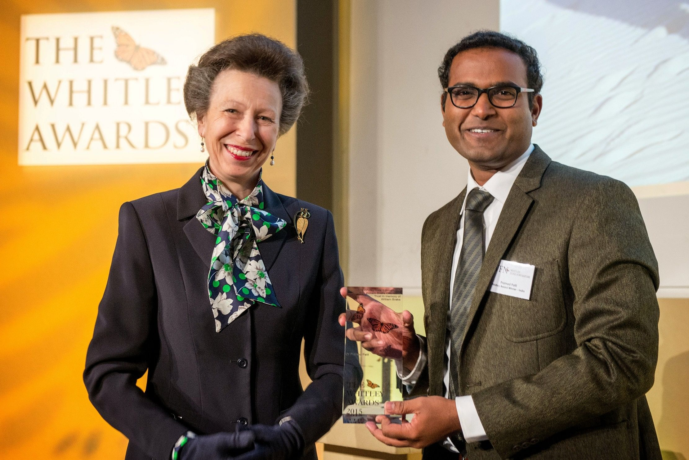 Dr. Pramod Patil receiving the Whitley Award from Princess Anne at a ceremony in London
