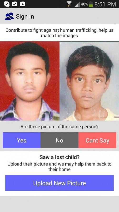 The app helps you match the faces of missing children.