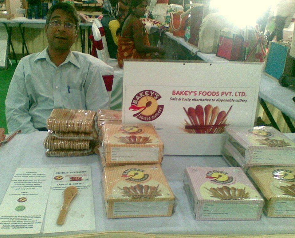 Narayana Peesapaty at a Bakey's stall.