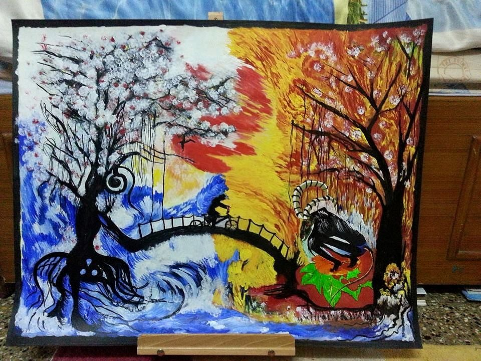 'My Trees of Life' - This depicts, directly and metaphorically, the story of Reshma running away from home on a cycle when she was 14