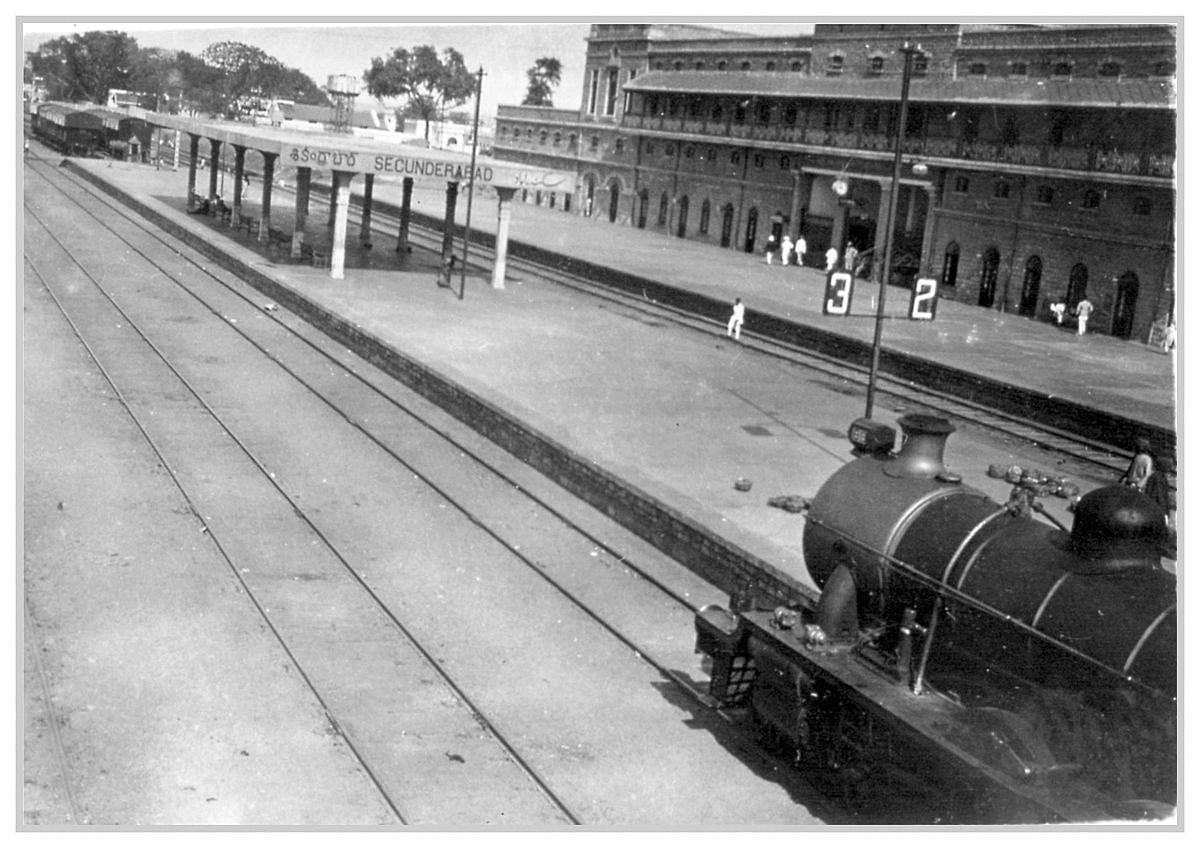 A locomotive at the Secunderabad Station (circa 1928)