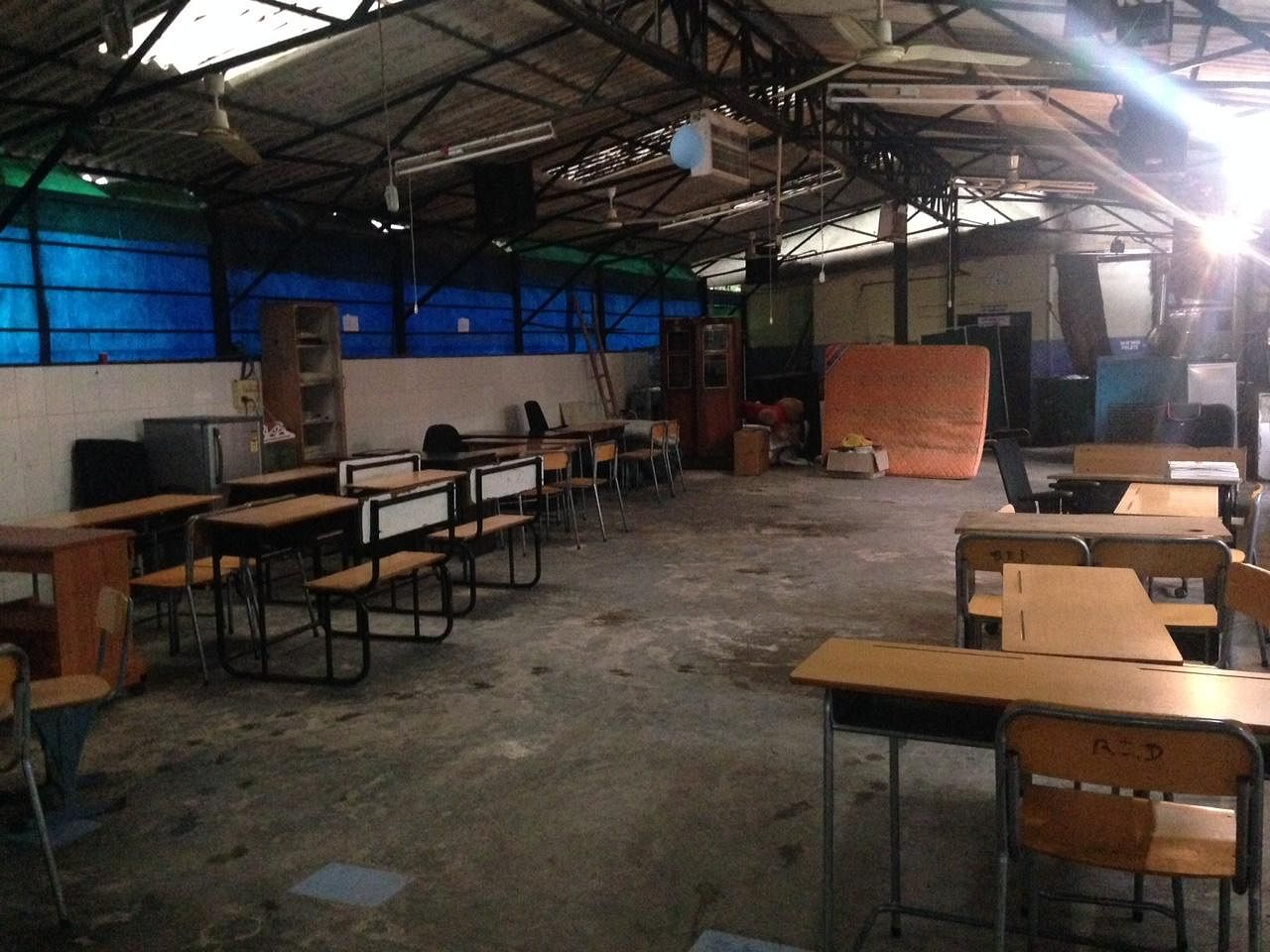 The college area of the school. These scantily equipped classrooms have seen extraordinary grit and competence.