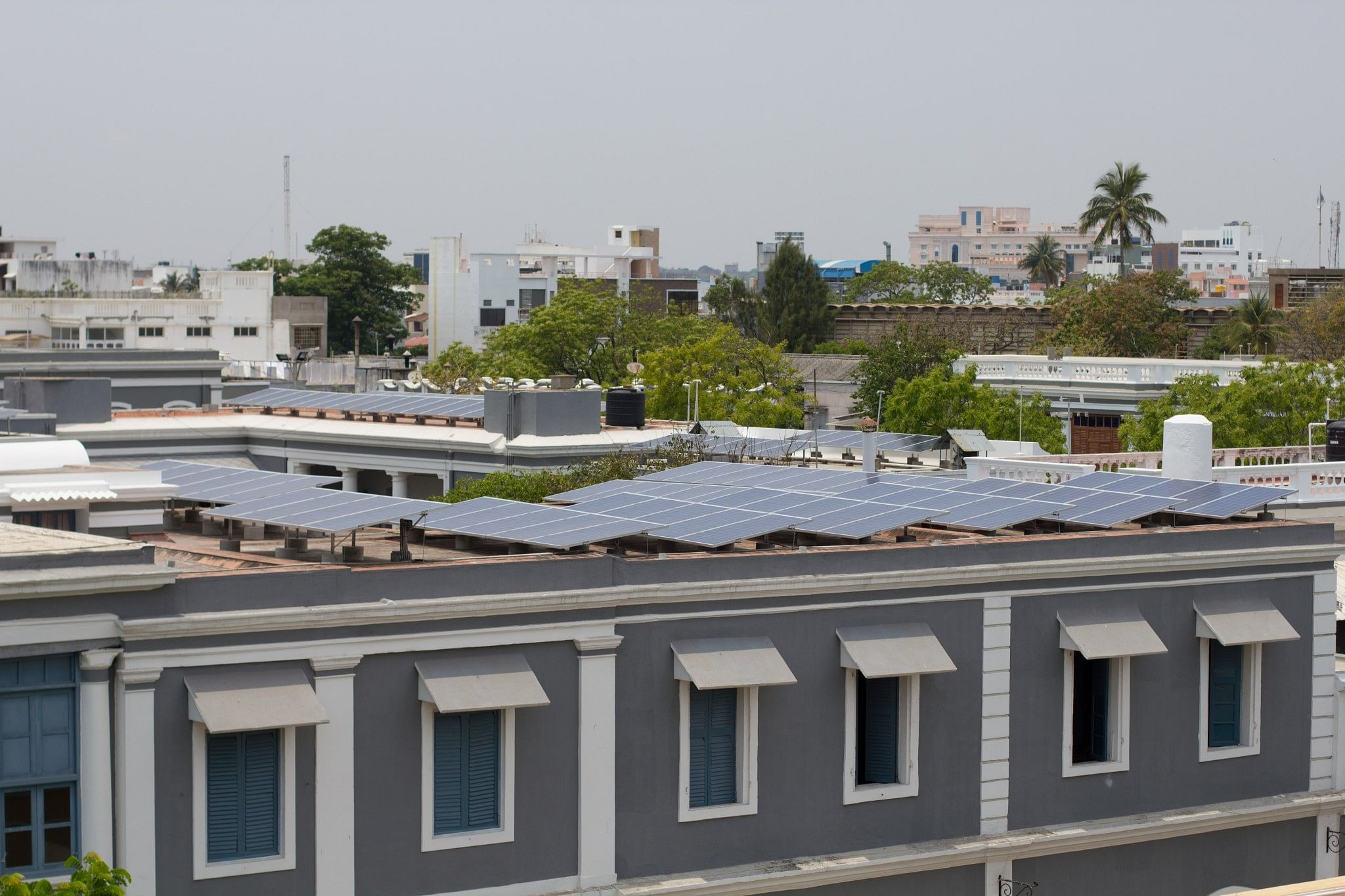A side-view of the solar panels installed on SAICE rooftop