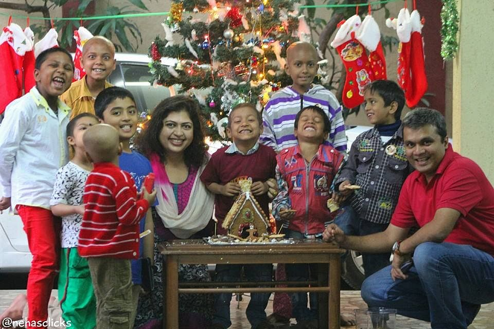 Rintu with her family at Access Life on Christmas
